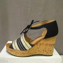 Chloe Cork Wedge Stripe Sandals Shoes 40.5 10.5 595 Photo