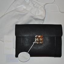 Chloe Elsie Large Clutch Bag in Black Goatskin Leather  Photo