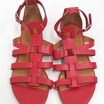Chloe Gladiator Sandal Red Leather Size 37.5 675 Gently Worn Photo