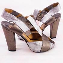 Chloe Gold Silver Metallic Heels Size 9 Euro 39 Photo