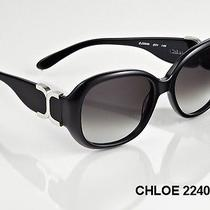 Chloe Gray Gradient Lens-Cl2240 Women's Sunglasses Black Frame/silver Tone Logo Photo
