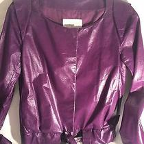 Chloe' High End Leather Short Purple Leather Jacket Moto Coat 36 4 Small Photo