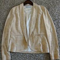 Chloe K Gold Crepe Metallic Jacket Size M Photo