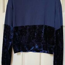 Chloe & Katie Long Sleeve Knit/velour Top Navy Xs Photo