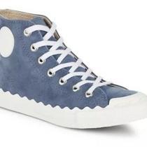 Chloe Kyle Women's Blue Suede Round Toe Sneakers Sz 37 Eur 4460 Photo