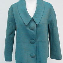 Chloe Linen Trapeze Jacket With Oversized Buttons Turquoise Size 40 Gently Worn Photo