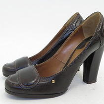 Chloe Loafer Pump Dark Brown Top-Stitched Leather Size 36.5 Gently Worn Photo