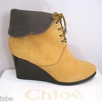 Chloe Mustard Nubuck Wedge Lace Up Booties Boots Foldover 39.5 9.5 895 Photo