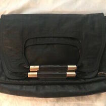 Chloenancy Black Leather Fold Over Clutch Handbag  Photo