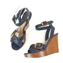 Chloe Navy Leather Strappy Wedge Sandals Shoes Size 36.5 Photo