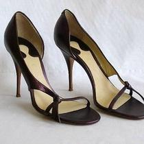 Chloe New Burgundy Wine Metallic Leather Half d'orsay Pumps 40 Photo
