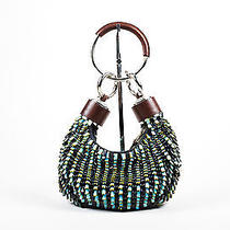 Chloe Nwt Brown Turqouise Leather Heavily Beaded Bracelet Ring Mini Hobo Bag Photo