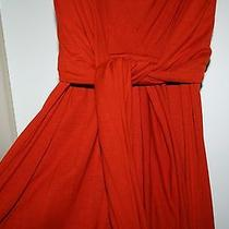 Chloe Orange Double Sleeveless Orange Cotton Wrap Tie Dress Small Photo