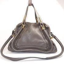 Chloe' Paraty Medium Leather Satchel Rock Photo