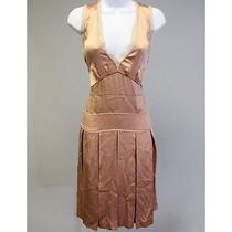 Chloe Quartz Rose Silk Knee Length Pleated Sleeveless Dress Size T36 Photo