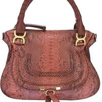 Chloe Red Brown Python Marcie Medium Shoulder Bag Leather Tote Satchel Handbag Photo