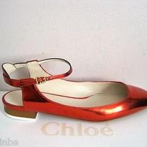 Chloe Red Metallic Leather Maryjane Ballet Flats Shoes 36 6 675 Photo