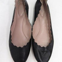Chloe Scalloped Ballet Flat Black Supple Leather Size 40.5 475 Gently Worn Photo