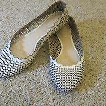 Chloe Scalloped Edge Perforated Cream Colored Flats - Size 38 or 7.5 - 8 Photo