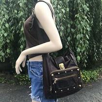 Chloe Soft Chocolate Brown Leather Shoulder Bag Gold Studs Hobo Slouch Purse Photo