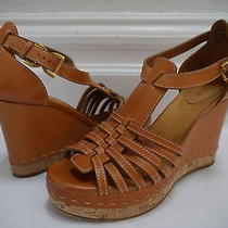 Chloe Tan Leather Strappy Wedge Sandals Heels Italian Size 39 Photo