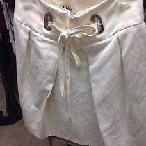 Chloe Tie Front Skirt a Line Cream Sand New Size 36 Flared Photo