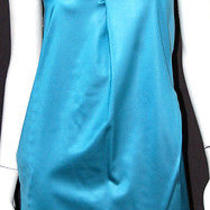 Chloe Turquoise Blue Silk Satin Sleeveless Shift Dress 38 Photo