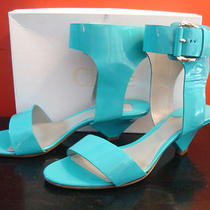 Chloe Turquoise Patent Leather Gladiator Sandal 11 Nib 41 Light Blue 800 Ankle  Photo