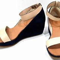 Chloe Wedge Sole Sandals Shoes Pumps Navy Mules 37 1/2 About 24cm Leather Women Photo