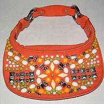 Chloe Women's Orange Canvas/leather Beaded Small Shoulder Bag Made in Italy Photo