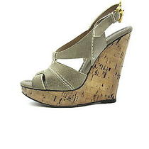 Chloe Women Taupe Leather & Suede Slingback Cork Platform Wedge Sandals Shoes 37 Photo