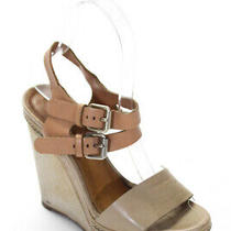 Chloe  Womens Ankle Strap Wedge Shoes Tan Leather Size 35.5  5.5 Photo