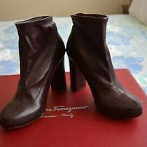 Chloe Womens Pointed Toe Block Heel Ankle Boots Brown Leather Size 37 Is 7 Photo