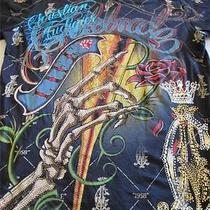 Christian Audigier Ed Hardy Mens Rhinestone Champagne Flute Casual T Shirt Sz S Photo