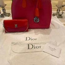 Christian Dior Addict Tote Bag Leather Pink Orange W Matching Wallet Photo