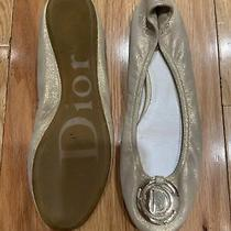 Christian Dior Ballet Flat Cream Gold W/ Logo Size 38 1/2 (Fa1108) Photo