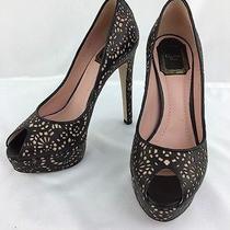 Christian Dior Black/blush Lattice Peep Toe Platform Pump Size 36(5.5). C5824 Photo