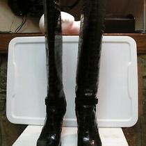 Christian Dior Black Genuine Crocodile Knee High Buckle Boot Size 38 Photo