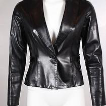 Christian Dior Black Leather Corset Waist Jacket Size 4 Euc Photo