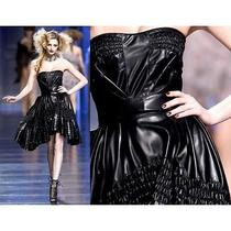 Christian Dior Black Leather Ruffled Corset Dress A/w 2010 Photo