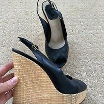 Christian Dior Black Leather Sandals Shoes Wedges Sz 38 / 7.5 Photo