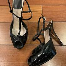 Christian Dior Black Patent Leather High Heel Sandals Size 37 Photo