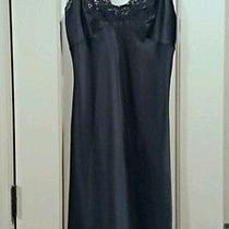 Christian Dior Black Satin Long Lingerie Nightgown Sleepwear Womens Size Medium Photo