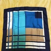 Christian Dior Blue Scarf 100% Silk Geometric Design Photo