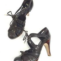 Christian Dior Brown Croc Stamp Leather Tortoise Heels Lace Up Pumps Shoe 37 New Photo
