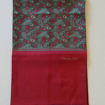 Christian Dior  Burgundy & Paisley Design Scarf 100% Silk One Side Wool Other Photo