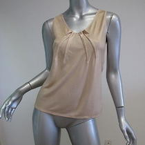Christian Dior Champagne Pleated Neck Sleeveless Top 8 Photo