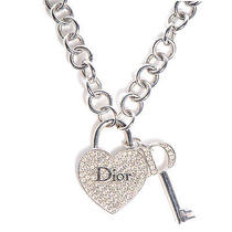 Christian Dior Crystal Heart and Key Necklace Photo