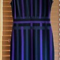 Christian Dior Dress Sz 8 Black Gray Purple Cut Out Sleeveless Photo
