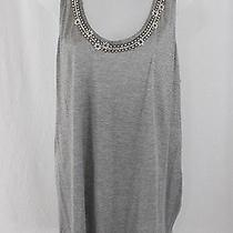 Christian Dior Gray Mother of Pearl Floral Jeweled Strappy Back Shirt Top Sz 12 Photo